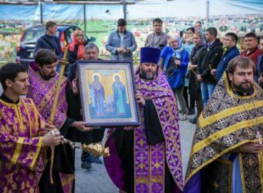 В храм преподобного Сергия Радонежского доставили икону святых покровителей нотариата